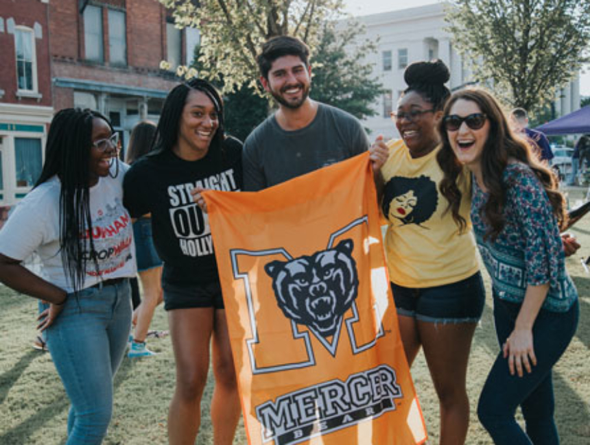 Students with Mercer Flag