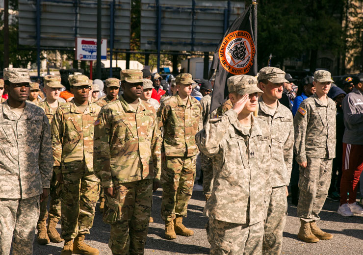 ROTC Students Saluting